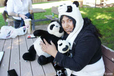 Marlene Calde, 21, a Arizona Western College Sophomore English Major dressed as a Panda with matching backpack and purse.
