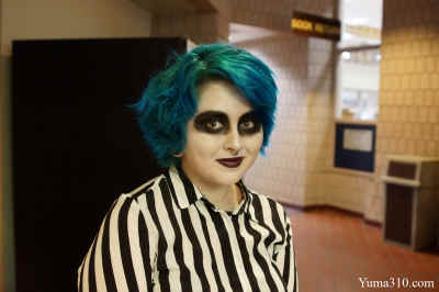 Kayla Barnes, 18, is a Culinary Major changing to Studio Arts attends her first semester at AWC. Barnes has been everywhere, she originated in California and moved to Yuma, Arizona. Kayla comes costumed as Beetlejuice.