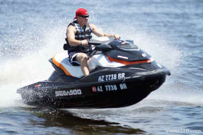 Sea-Doo Jet Ski skips water